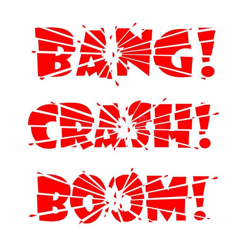 Explosión de las letras, desplome, auge Las letras son partidas en pedazos por el impacto o la explosión y cascos de las letras q stock de ilustración