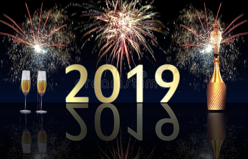 Explosión de los fuegos artificiales y del champán de la Feliz Año Nuevo 2019 imagen de archivo