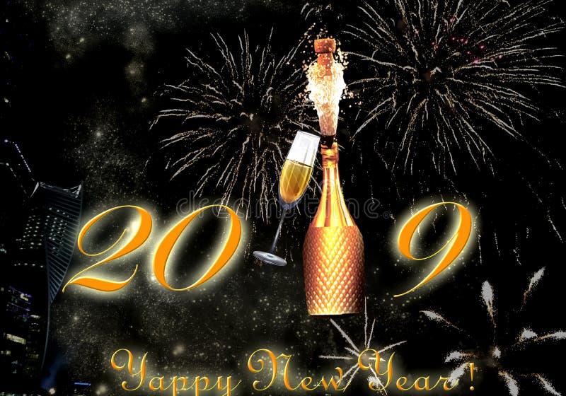 Explosión de los fuegos artificiales y del champán de la Feliz Año Nuevo 2019 imágenes de archivo libres de regalías