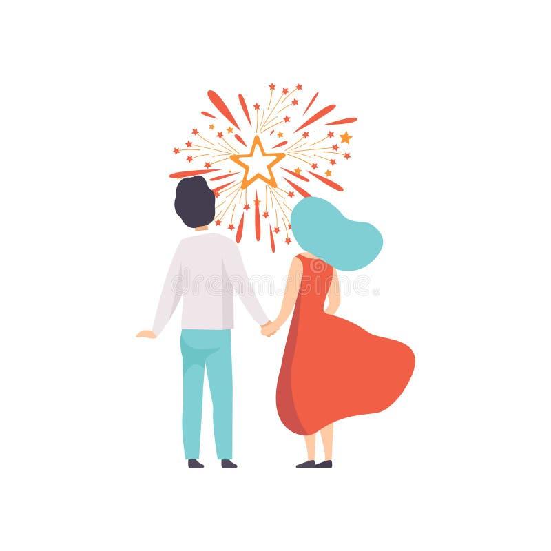 Explosión de observación de los pares felices de los saludos coloridos en el cielo, gente que celebra día de fiesta con vector de ilustración del vector