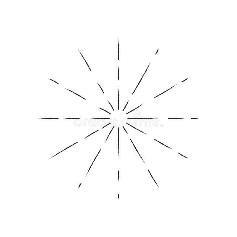 Explosión de Sun, línea de la sol de la explosión de la estrella Ilustración del vector Negro del icono en blanco Elemento del di ilustración del vector