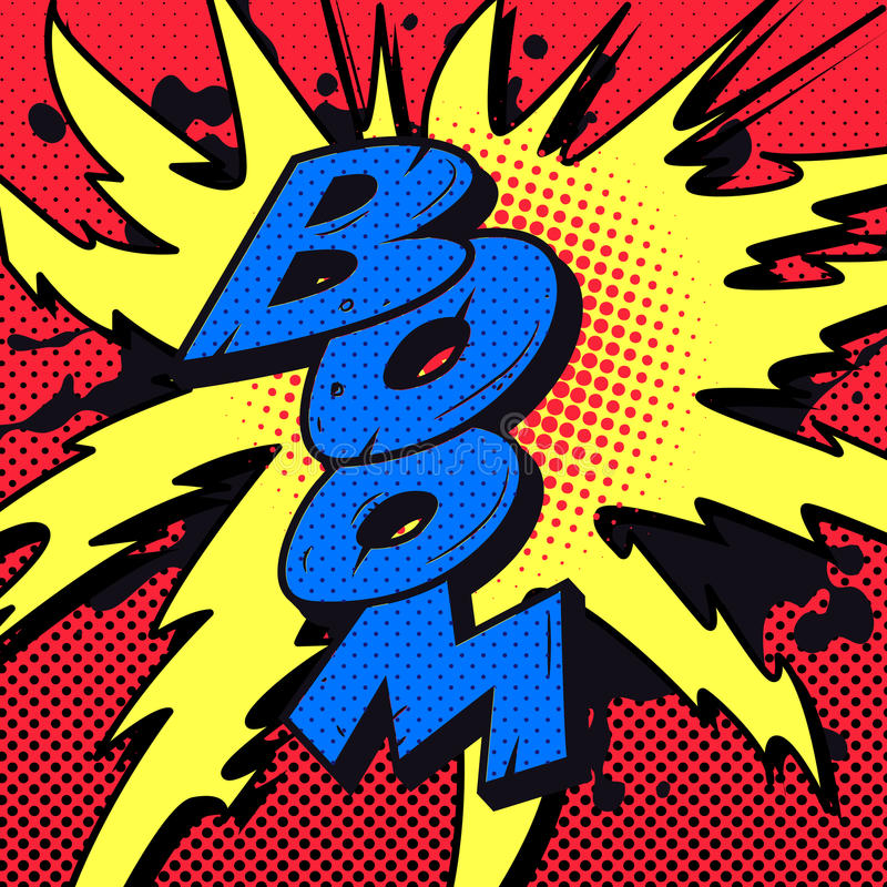 Explosión del auge del cómic fotografía de archivo