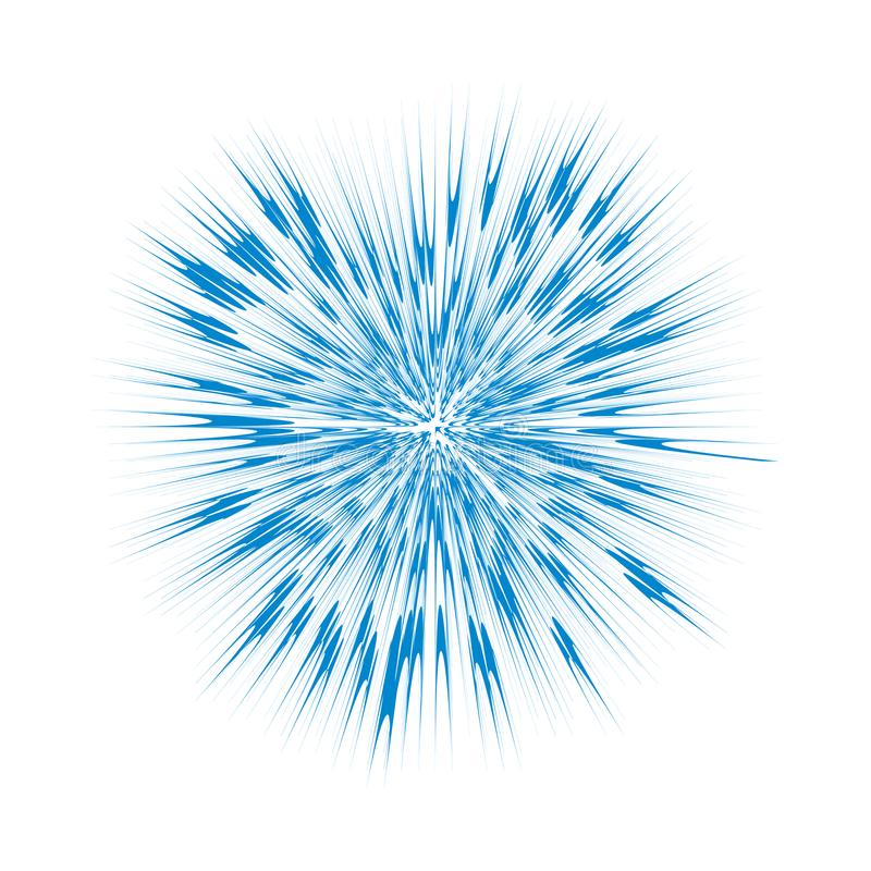 Explosión del azul, explosión abstracta Efecto gráfico de la ráfaga aislado sobre el fondo blanco stock de ilustración