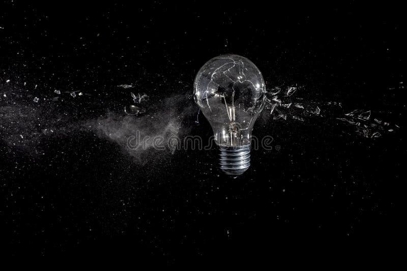 Explosión del bulbo de cristal imágenes de archivo libres de regalías