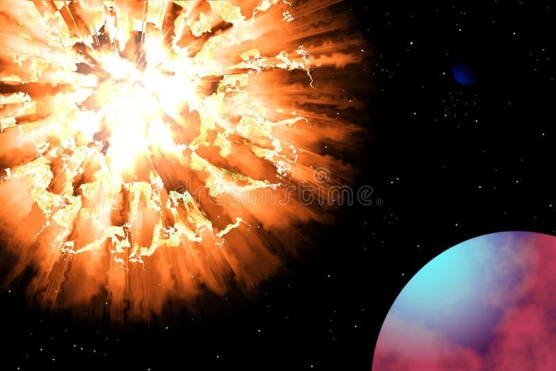 Explosión del planeta en el universo stock de ilustración