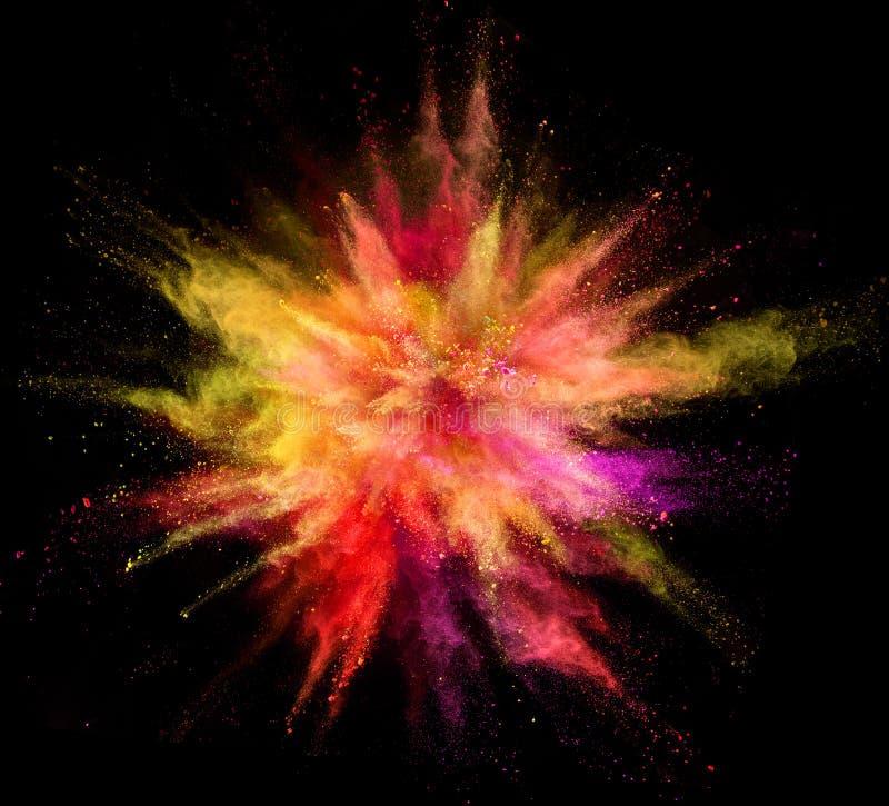 Explosión del polvo coloreado aislado en fondo negro stock de ilustración