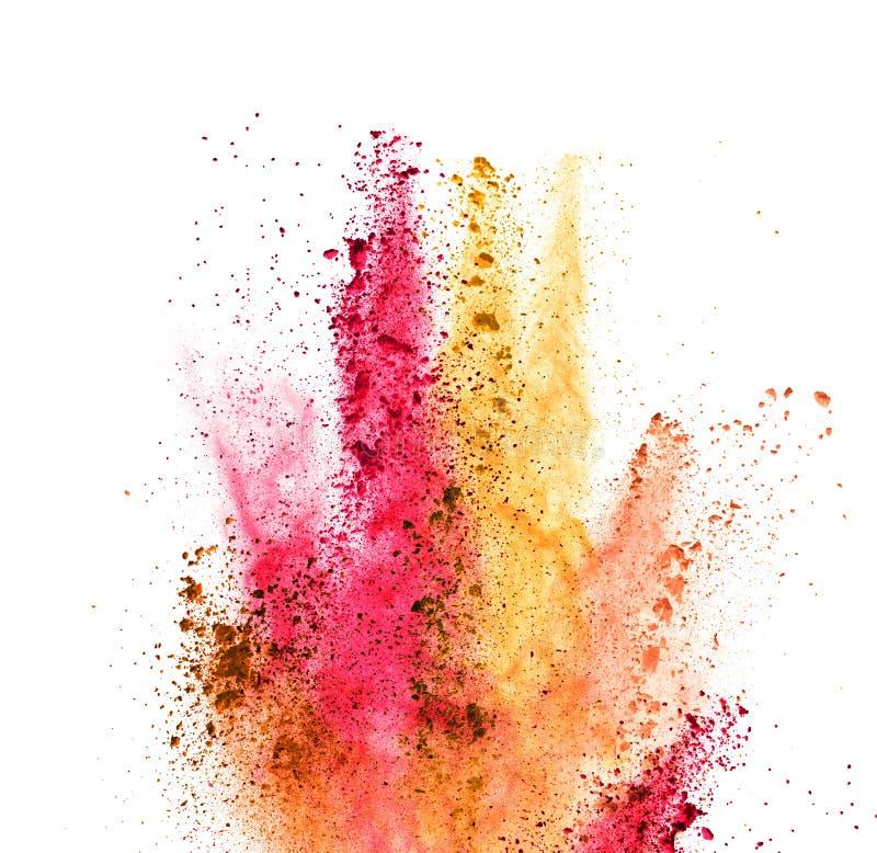 Explosión del polvo coloreado en el fondo blanco libre illustration