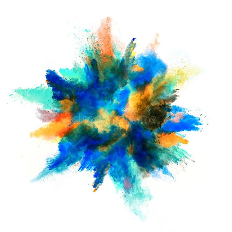 Explosión del polvo coloreado en el fondo blanco ilustración del vector