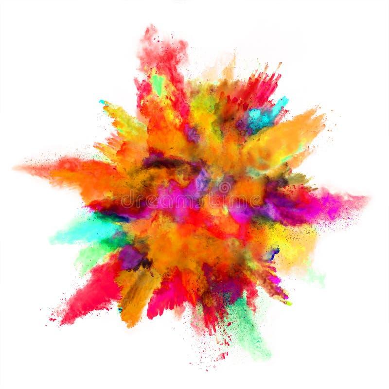 Explosión del polvo coloreado en el fondo blanco stock de ilustración