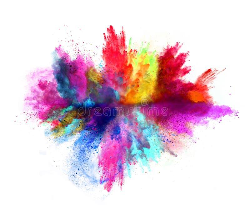 Explosión del polvo coloreado en el fondo blanco imagen de archivo libre de regalías