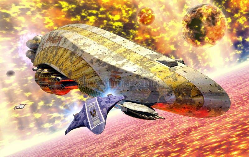 Explosión del sol de la nave espacial stock de ilustración