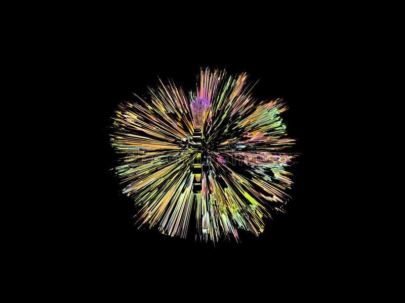 Explosión, en una forma redonda, gráfico digital, colorido imagenes de archivo