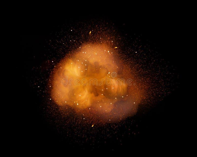 Explosión enorme, extremadamente caliente con las chispas y humo caliente, contra fondo negro imagen de archivo