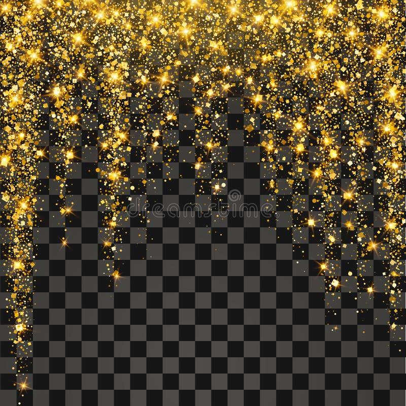 Explosión festiva del confeti Fondo para la tarjeta, invitación del brillo del oro libre illustration