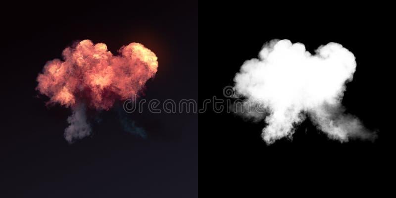 Explosión grande con humo negro en oscuridad más el canal alfa representación 3d imagen de archivo libre de regalías