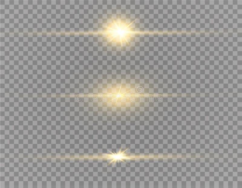Explosión ligera blanca de la explosión que brilla intensamente en fondo transparente Decoración del efecto luminoso del ejemplo  ilustración del vector