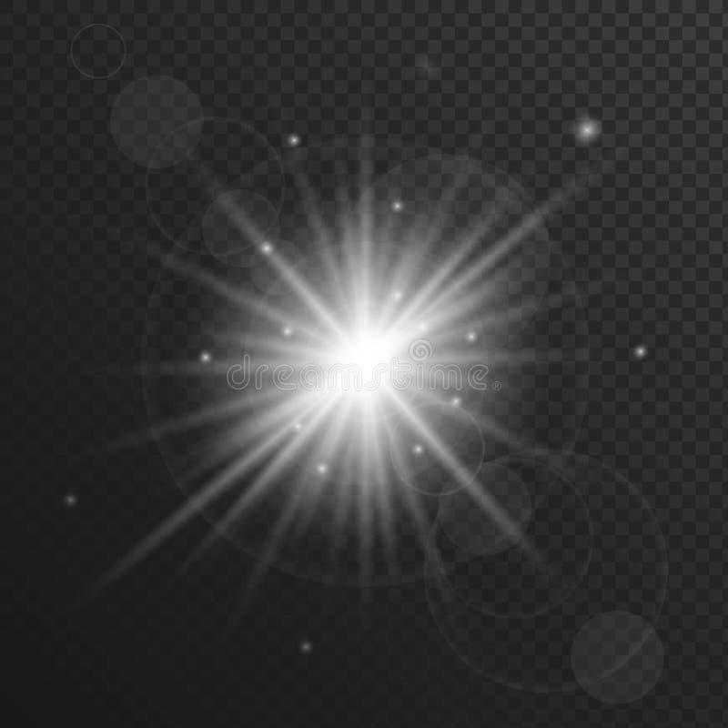 Explosión ligera con las chispas que brillan intensamente, efecto de la llamarada o de la estrella de la lente ilustración del vector