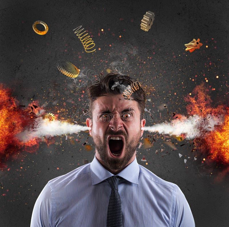 Explosión principal de un hombre de negocios concepto de tensión debido trabajar demasiado fotos de archivo libres de regalías
