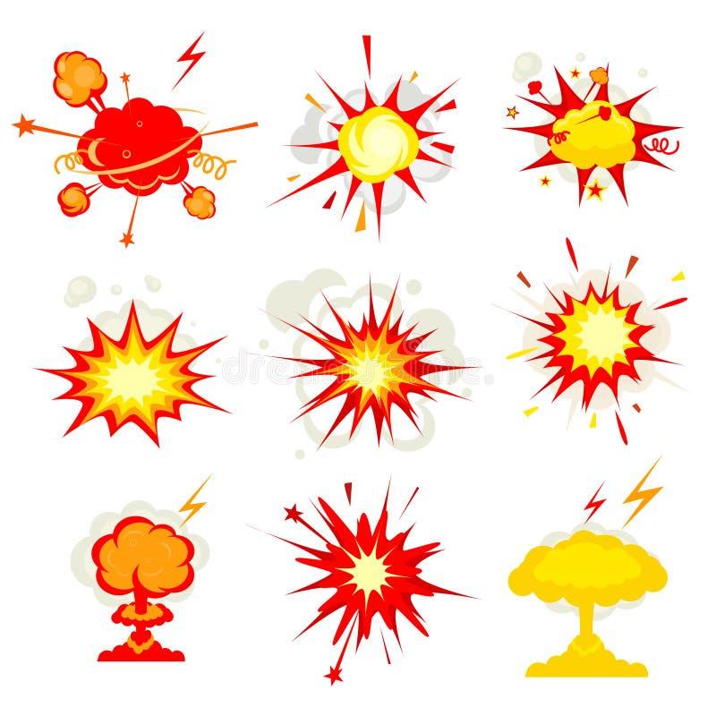 Explosión, ráfaga o fuego de la explosión de la bomba ilustración del vector