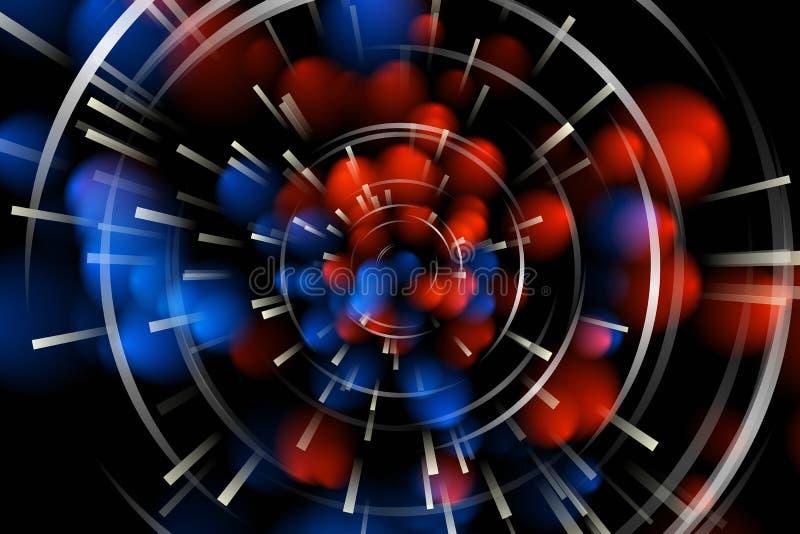 Explosión radiante azul y leída ilustración del vector