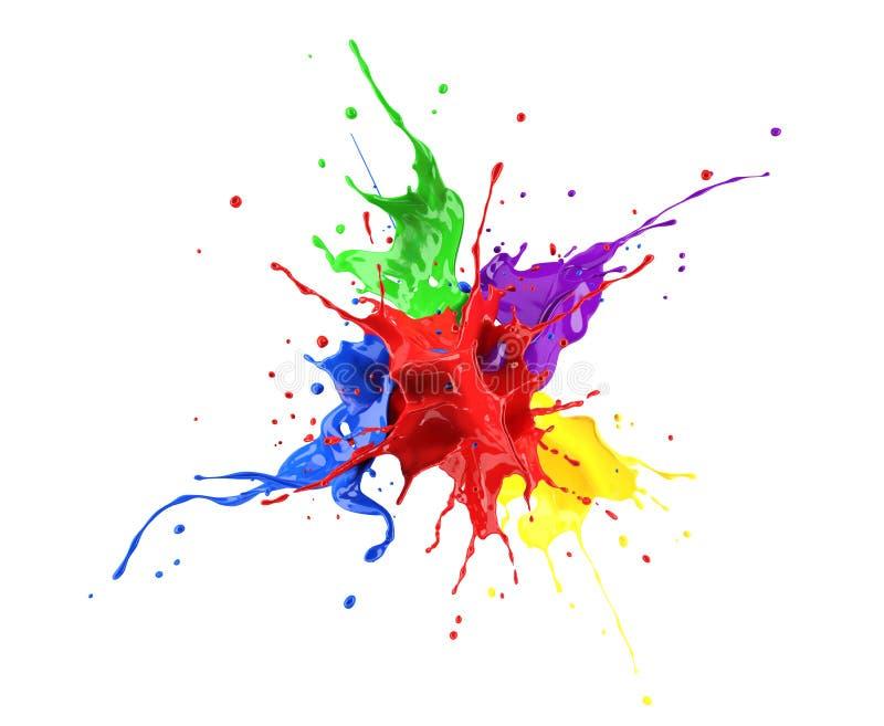 Explosión roja, azul, violeta, amarilla y verde del chapoteo de la pintura libre illustration