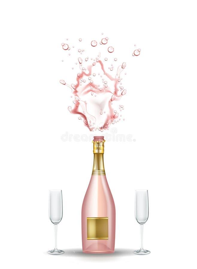 Explosión rosada realista del champán del vector, vidrios stock de ilustración