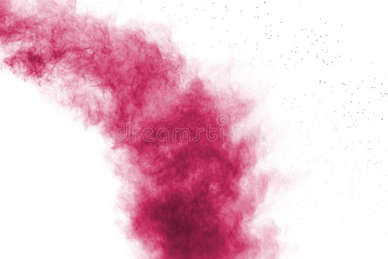 Explosi?n rosada abstracta del polvo en el fondo blanco Movimiento del helada del polvo rosado salpicado imagen de archivo libre de regalías