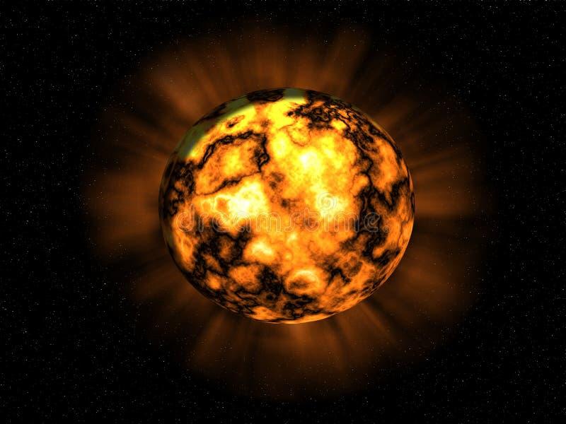 Explosie op de planeet stock illustratie