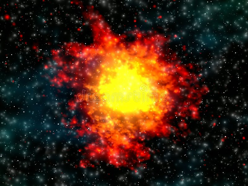 Explosie in ruimte royalty-vrije illustratie