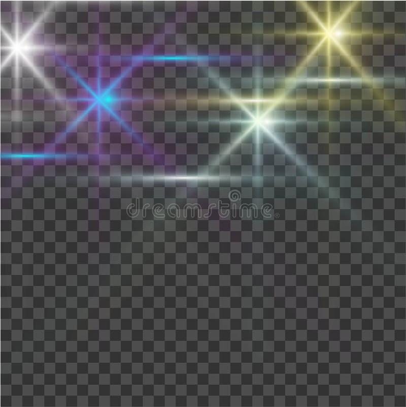 Explosie van de gloed de lichte uitbarsting met transparant Heldere ster Transparante glanzende zon, heldere flits Vector illustr royalty-vrije illustratie