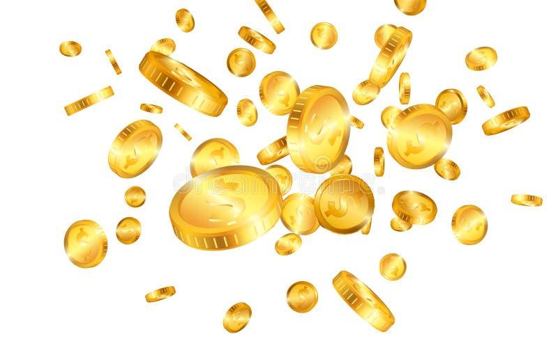 Explosie van dollar de gouden die muntstukken op witte achtergrond wordt geïsoleerd Vector illustratie vector illustratie