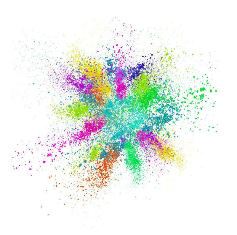 Explosie van gekleurd kosmetisch die poeder op wit wordt geïsoleerd stock afbeelding
