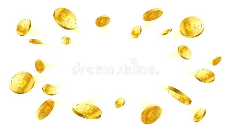 Explosie van gouden muntstukken met plaats voor tex vector illustratie