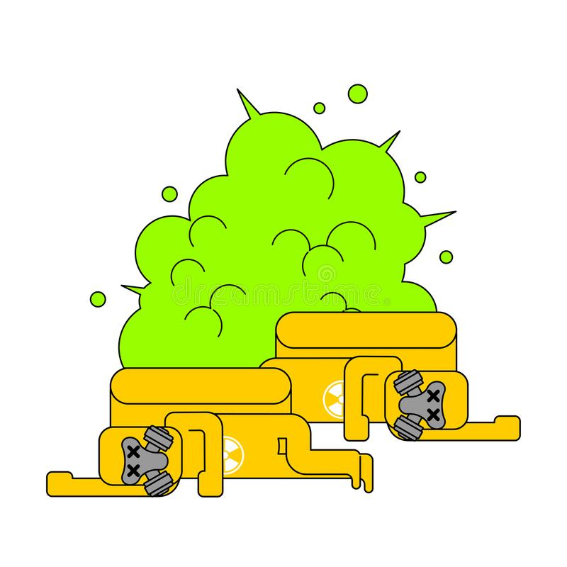 Explosie van radioactief afval Gele staafgifstof Volkomen Geel royalty-vrije illustratie