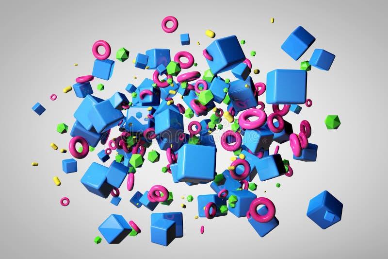 Explosie van verschillende 3D voorwerpen in lege ruimte vector illustratie