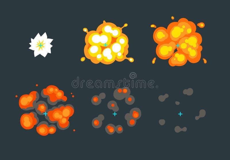 Explosieanimatie voor spel vector illustratie