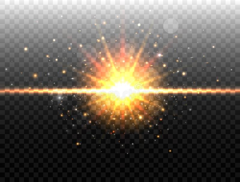 Explosieconcept Geïsoleerd op zwarte transparante achtergrond Gouden Gloed lichteffect Explosielicht Ster is gebarsten die met royalty-vrije illustratie