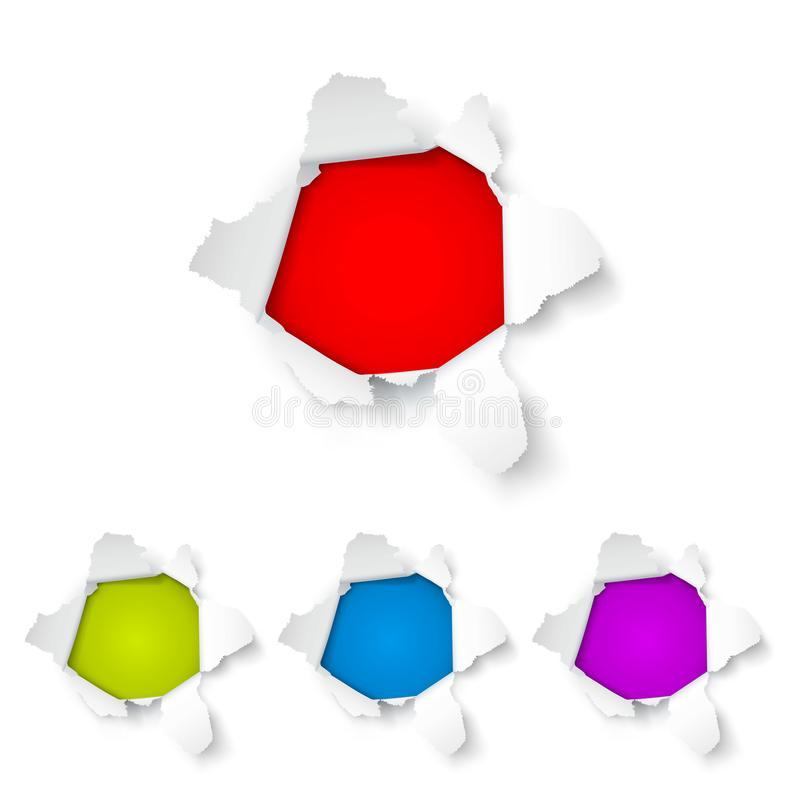Explosiedocument gat op de witte achtergrond vector illustratie
