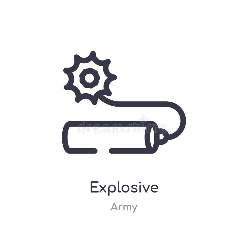 explosief overzichtspictogram ge?soleerde lijn vectorillustratie van legerinzameling editable dun slag explosief pictogram op wit stock illustratie