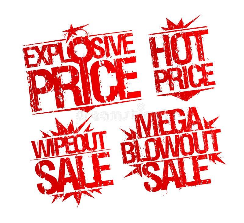 Explosieve prijs, hete prijs, wipeout verkoop en de mega rubberzegels van de uitbarstingsverkoop stock illustratie