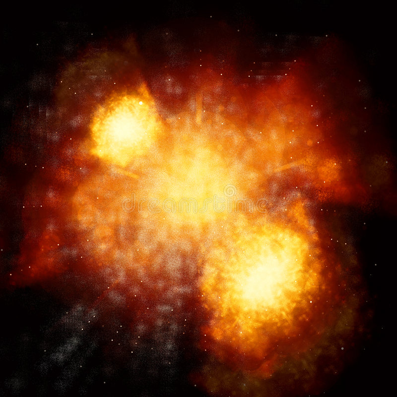 Explosion. Graphical fire explosion on dark black background stock photo