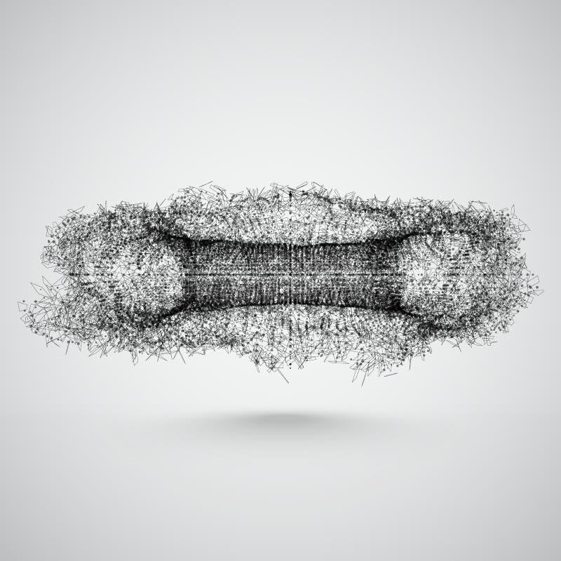 Explosion abstraite de maille avec des triangles et des particules Illustration de vecteur illustration libre de droits
