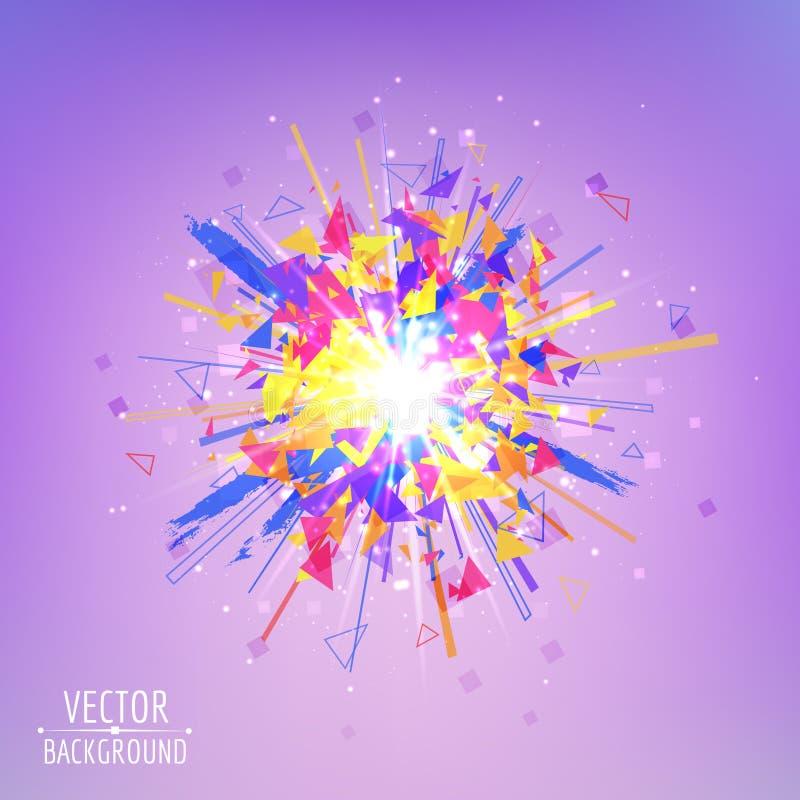 Explosion abstraite de vecteur Souffle rougeoyant coloré illustration stock