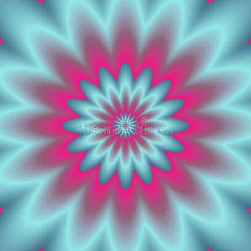 Explosion au néon Image abstraite de Digital avec une conception psychédélique de fleur dans bleu, vert au néon, et le rose illustration stock