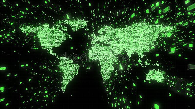Explosion av binära data runt om den gröna världskartan som illustreras som digital strömkrets royaltyfri illustrationer
