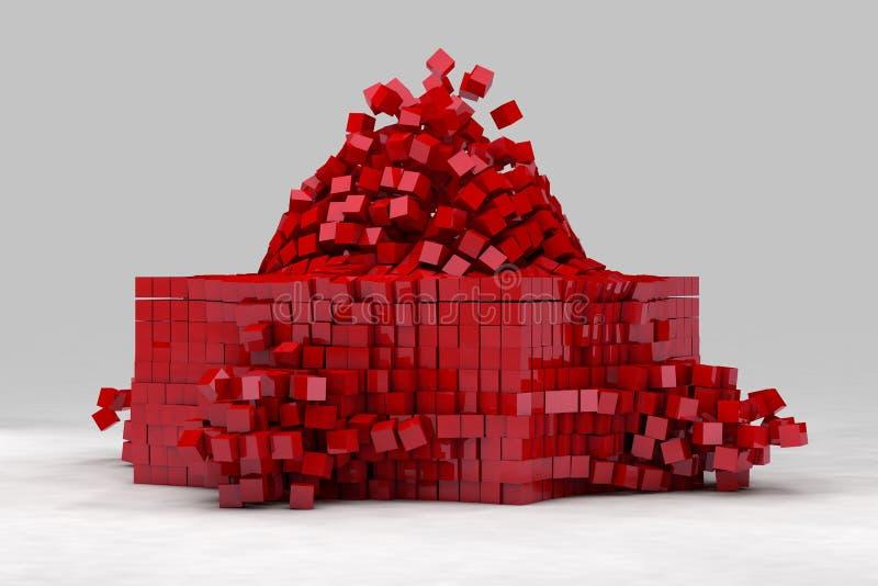 Explosion av fältet av röda kuber royaltyfri illustrationer