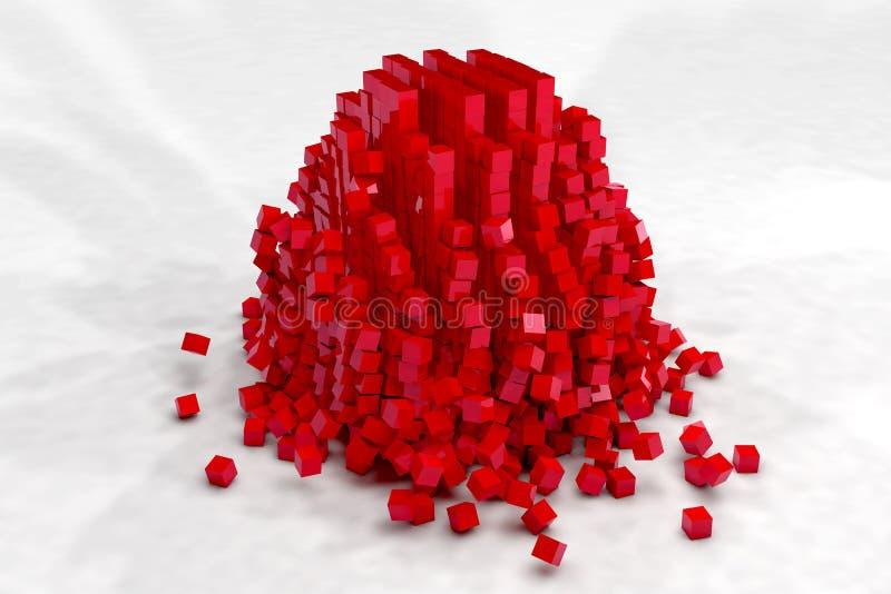 Explosion av fältet av röda kuber stock illustrationer