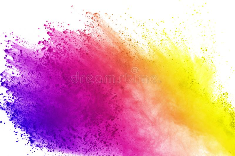 Explosion av kulört pulver som isoleras på vit bakgrund Splatted abstrakt begrepp av kulört damm färgmoln vektor illustrationer