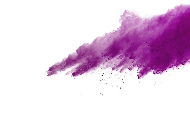 Explosion av kulört pulver som isoleras på vit bakgrund Splatted abstrakt begrepp av kulört damm färgmoln arkivbild