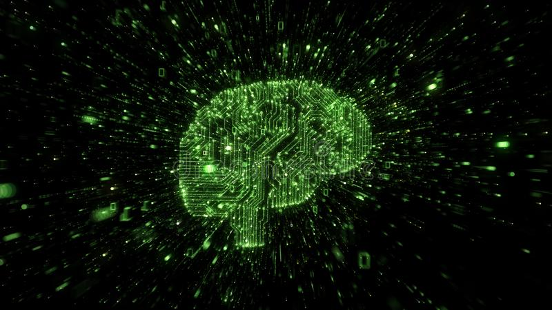 Explosion of binary data around green brain illustrated as digital circuitry. Green binary data and numbers streaming out from computer circuits in the shape of royalty free illustration